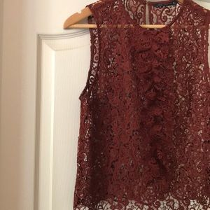 Sheer Lace Zara Rust Colored Tank Top